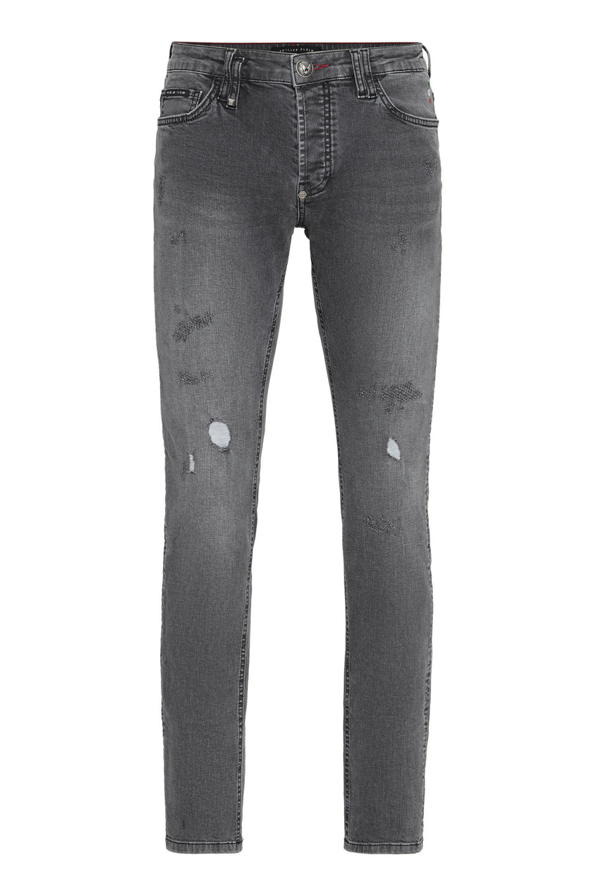 мужские потертые джинсы philipp plein, серые