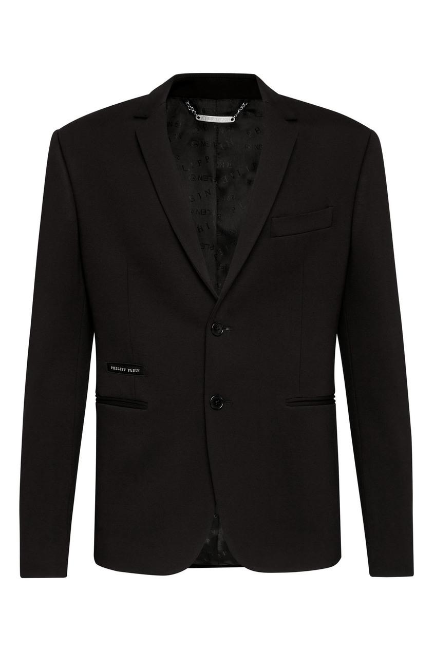 Черный пиджак с кристальным черепом от Philipp Plein