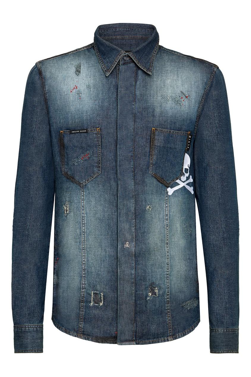 мужская джинсовые рубашка philipp plein, синяя
