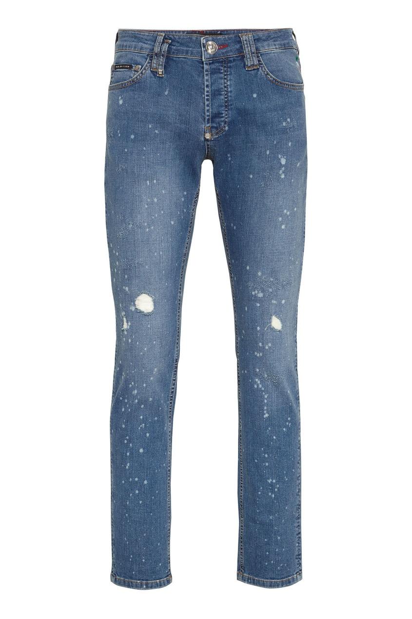 мужские джинсы скинни philipp plein, голубые