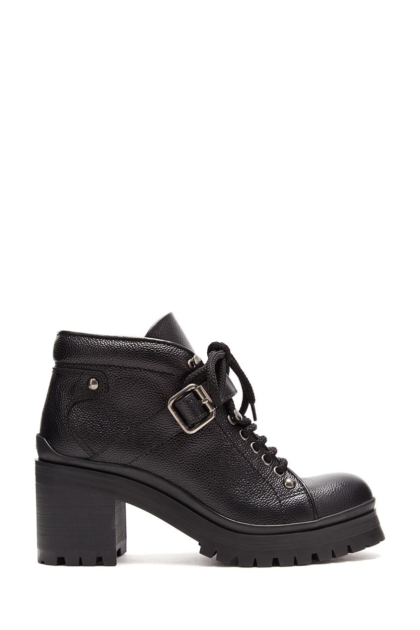 женские ботинки на каблуке miu miu, черные