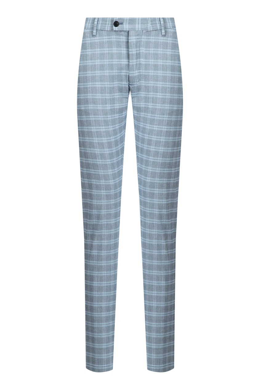 мужские брюки в клетку strellson, голубые