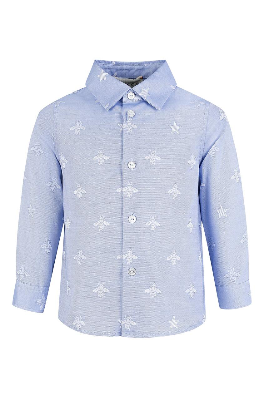 Голубая рубашка с голубыми пчелами для малыша от Gucci