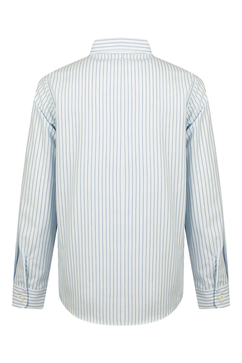 Фото 2 - Рубашку в тонкую бело-синюю полоску от Gucci Kids голубого цвета