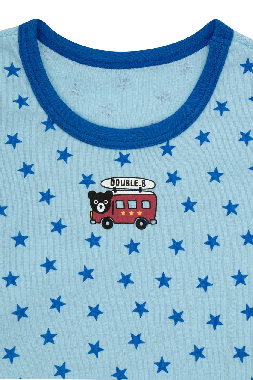 Фото 4 - Набор футболок с автобусом от Miki House голубого цвета