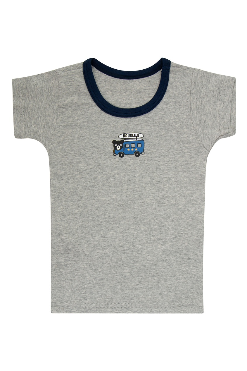Фото 5 - Набор футболок с автобусом от Miki House голубого цвета