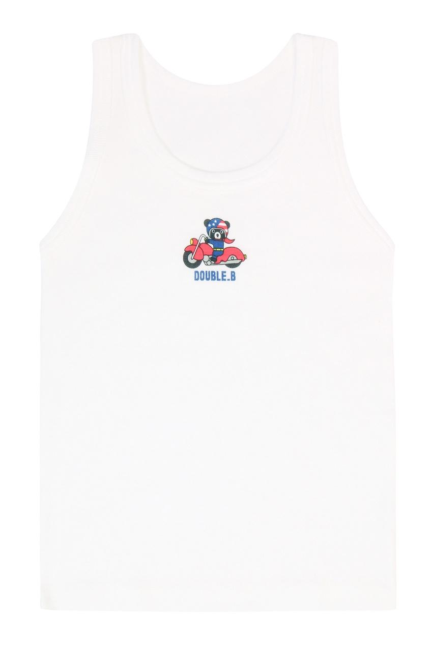 Фото 3 - Комплект из двух хлопковых маек с принтом от Miki House белого цвета