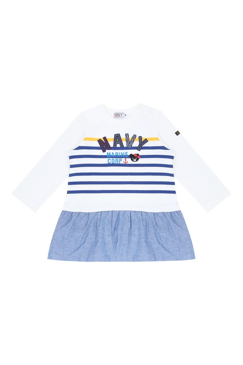 Фото - Платье в морском стиле от Miki House белого цвета