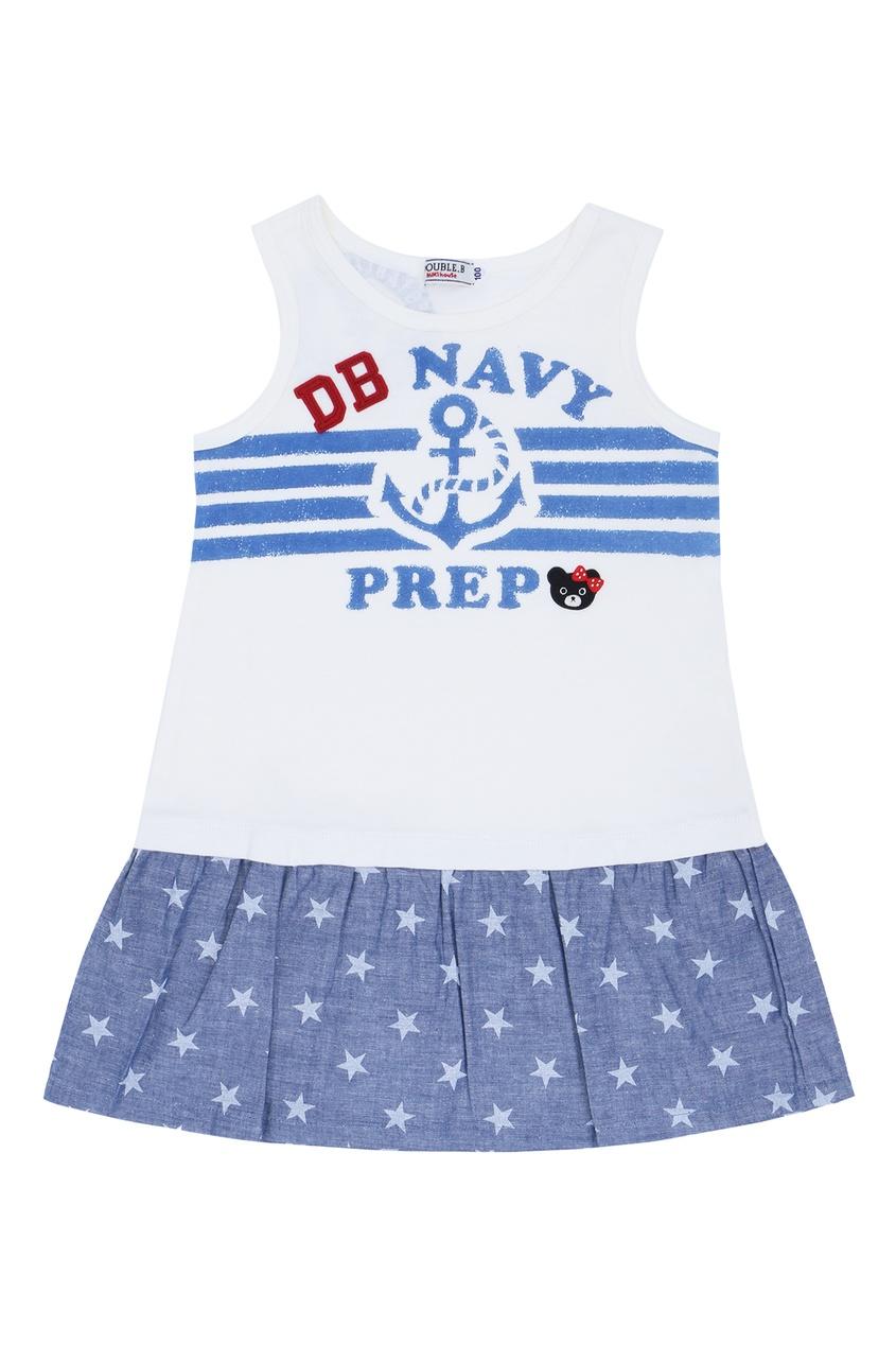 Фото - Платье в морском стиле со звездами от Miki House белого цвета