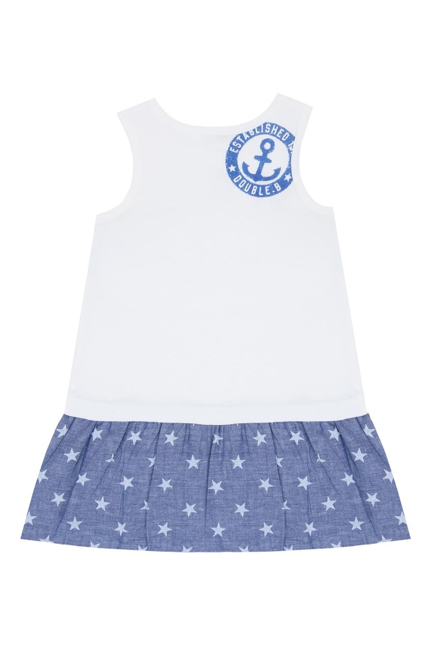 Фото 2 - Платье в морском стиле со звездами от Miki House белого цвета