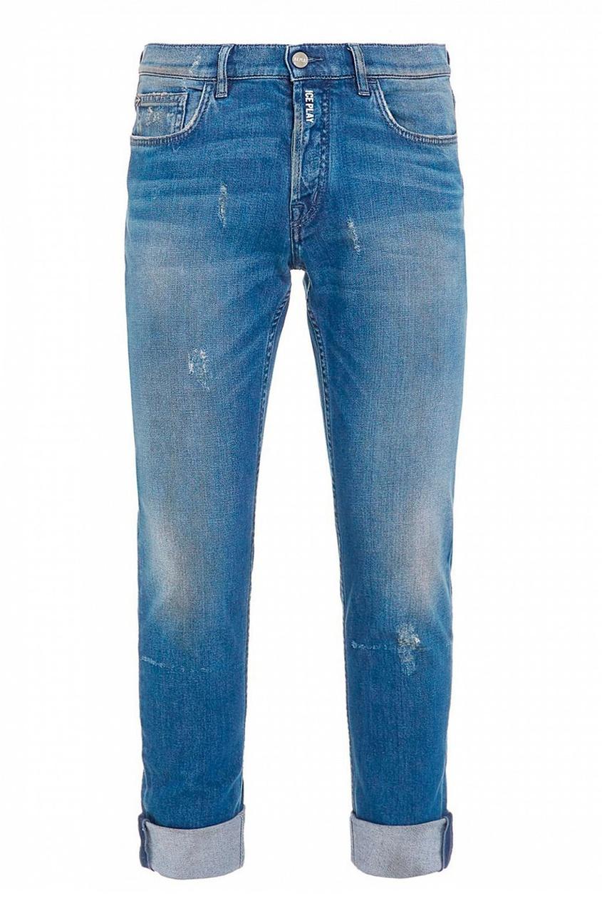 мужские потертые джинсы ice play, синие