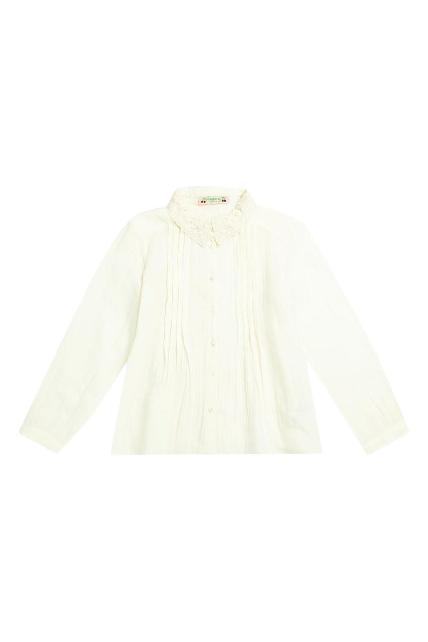 Блуза со складками и кружевным воротником от Bonpoint