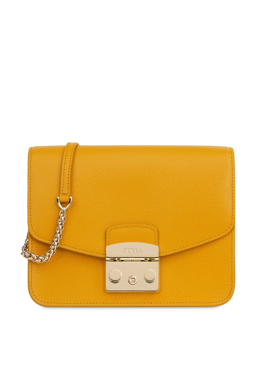 женская кожаные сумка furla, желтая