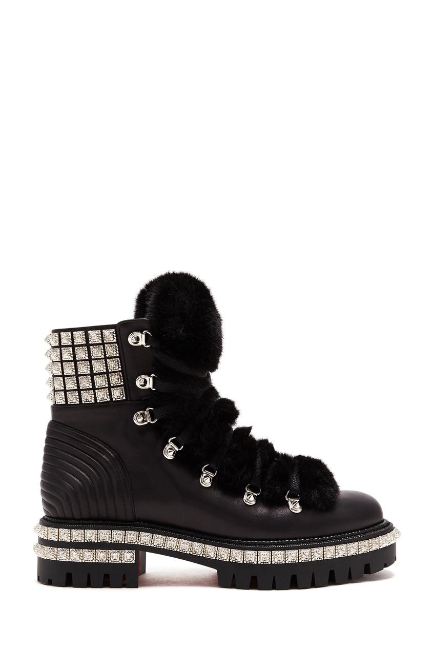 женские ботинки christian louboutin, черные