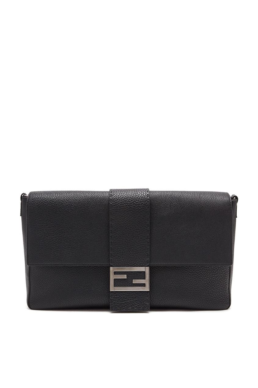мужская кожаные сумка fendi, черная