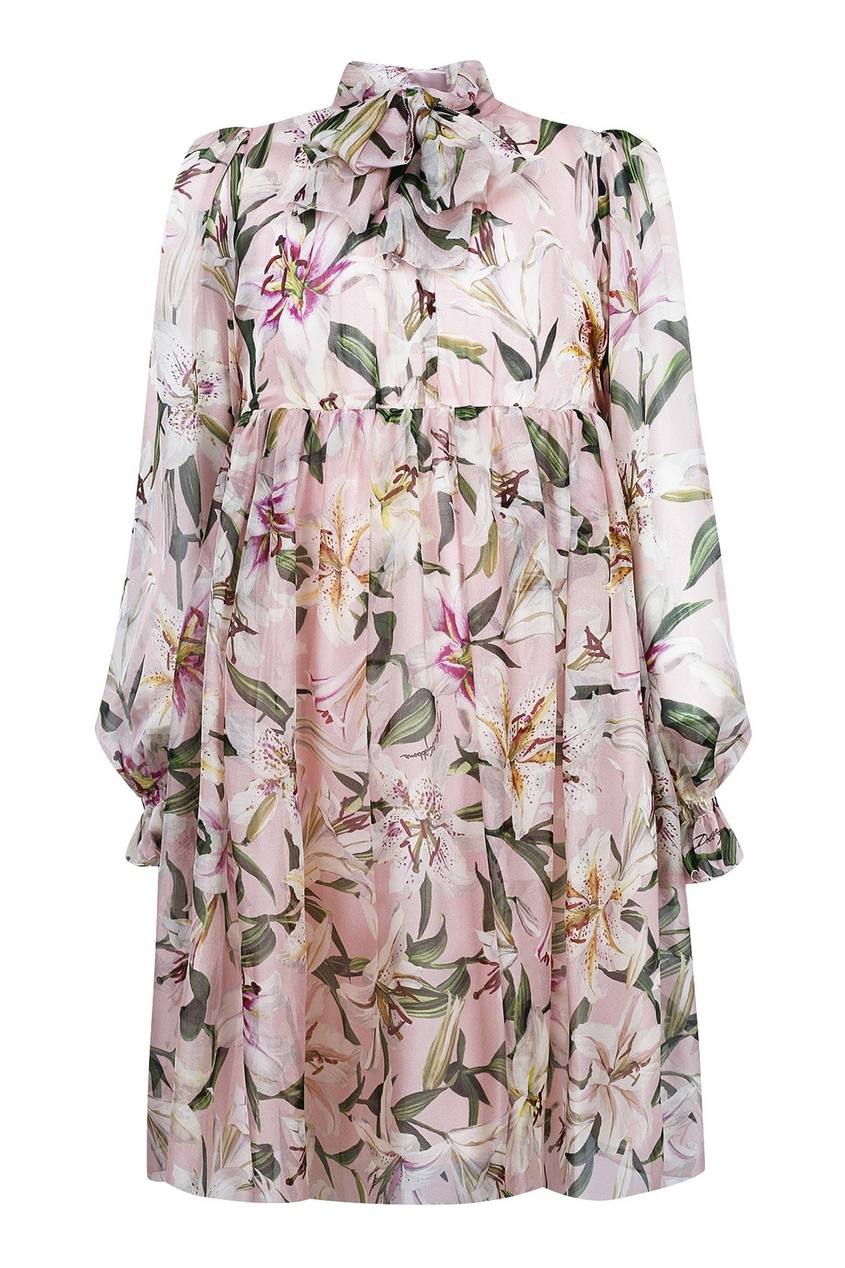 Розовое платье с длинными рукавами и пышной юбкой Dolce&Gabbana Children