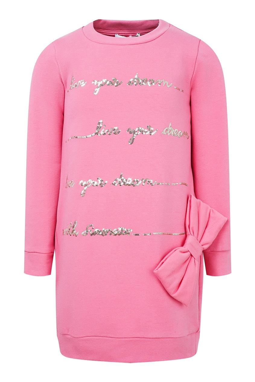 Розовое платье с надписью и бантом SIMONETTA MINI