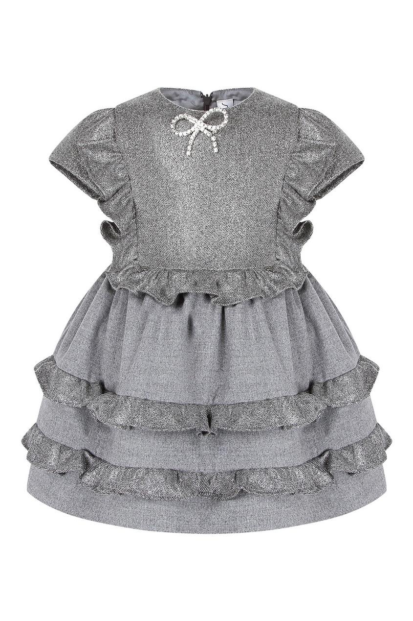 Комбинированное серое платье на девочку от Simonetta Mini