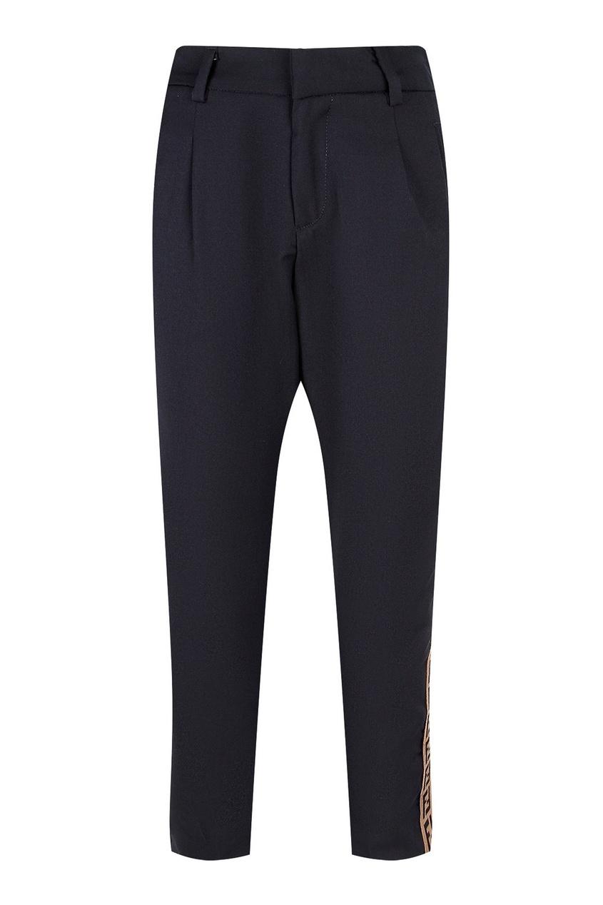 Серые брюки с завышенной талией Fendi Kids