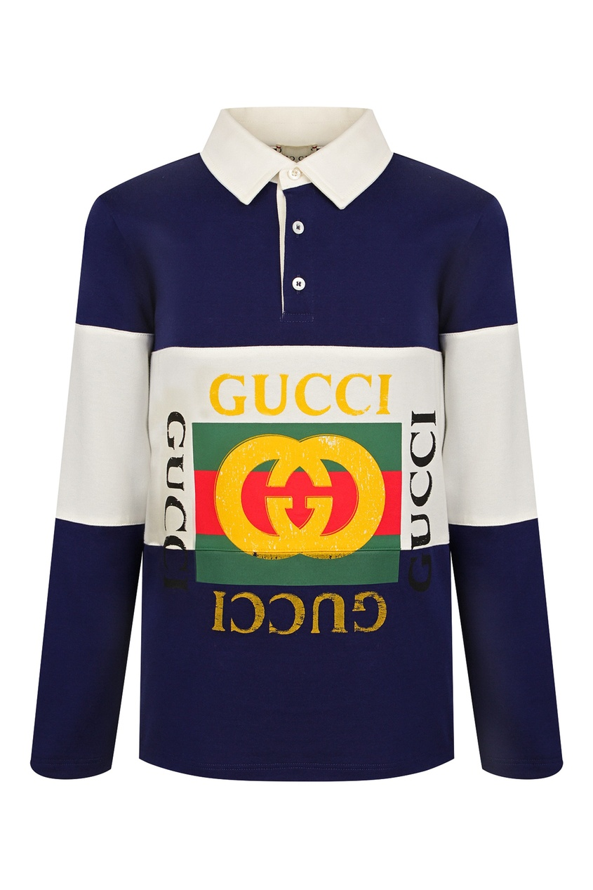 Сине-белое поло с логотипами Gucci Kids
