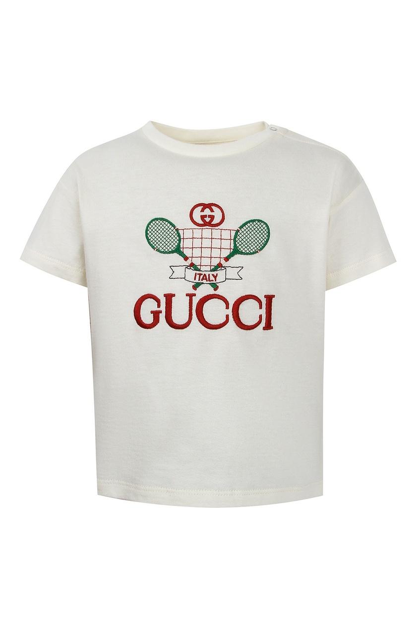 Белая футболка с вышивкой Gucci Kids