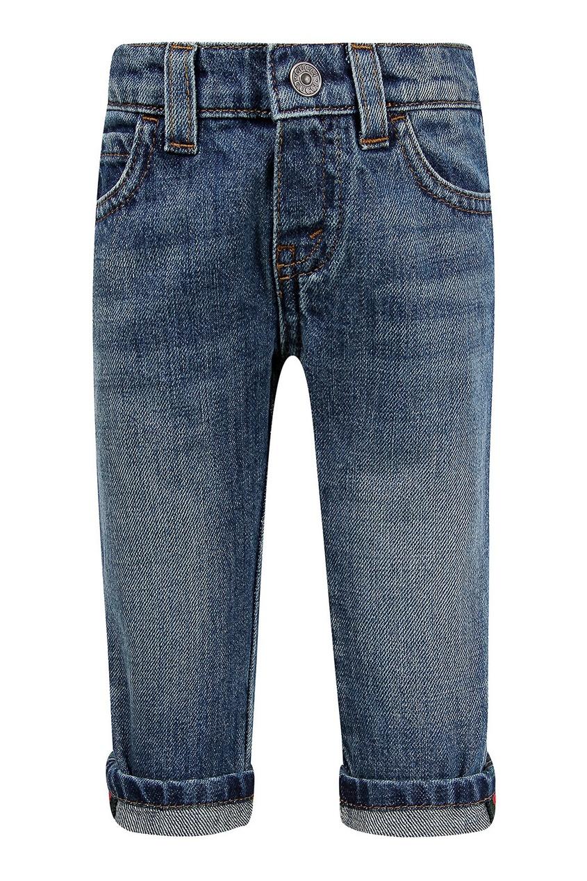 Голубые джинсы с отворотами Gucci Kids
