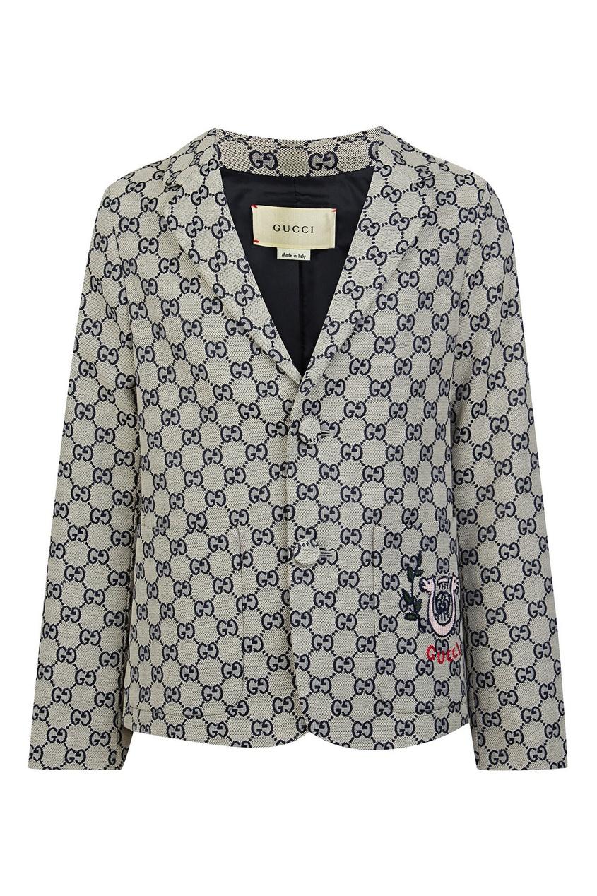 Серый пиджак с узором Gucci Kids