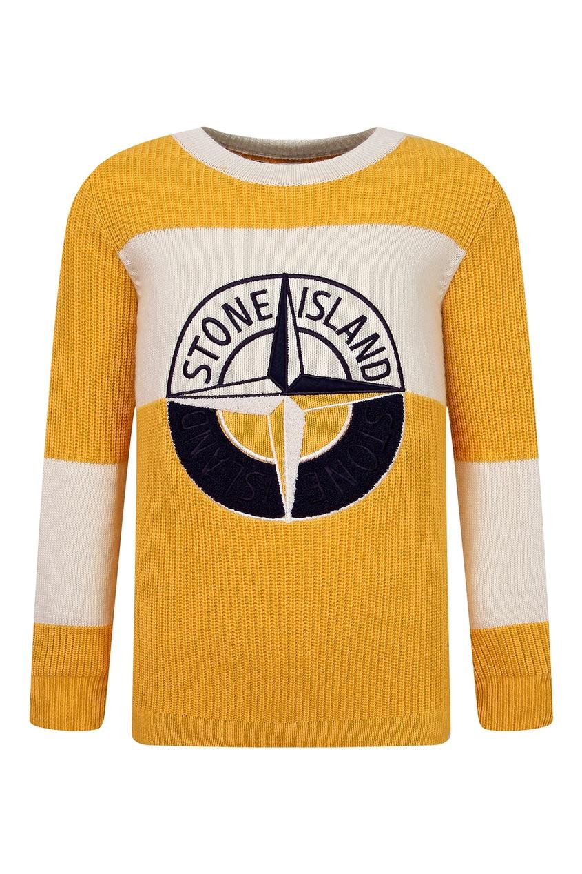 Желтый трикотажный свитер с вышивкой Stone Island Kids