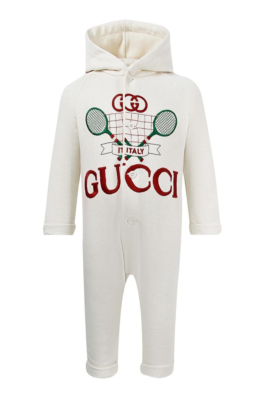Белый комбинезон с вышивкой от Gucci