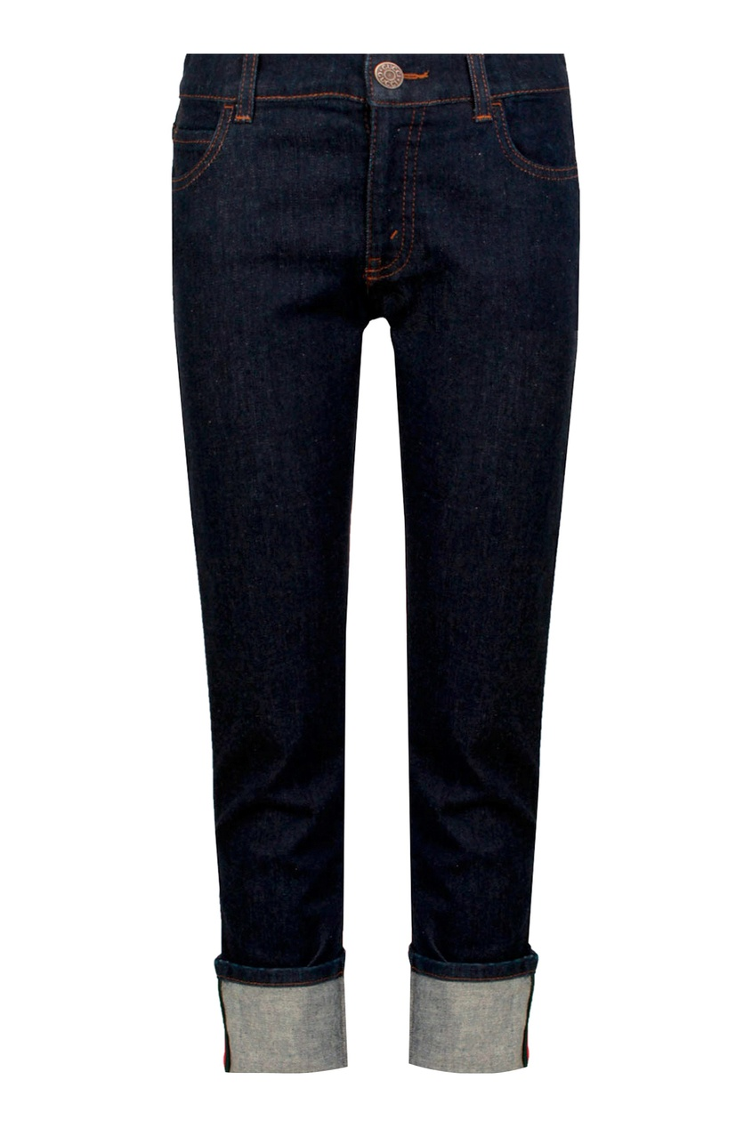 Темно-синие джинсы с отворотами Gucci Kids