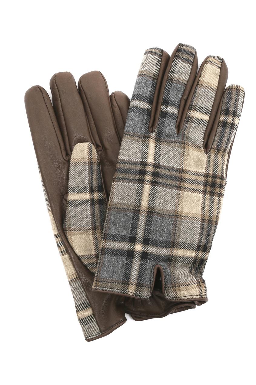 Кожаные перчатки с клетчатыми вставками Etro