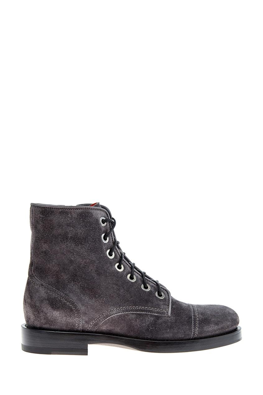 Темно-серые ботинки из замши от Santoni