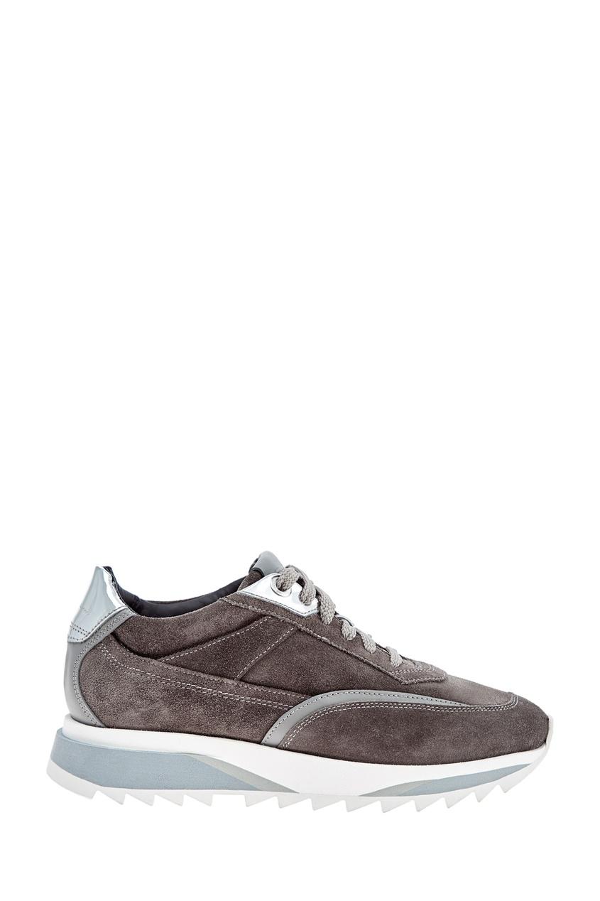 Серые кроссовки из замши от Santoni