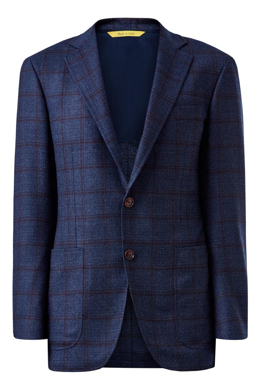 мужской пиджак в клетку canali, синий