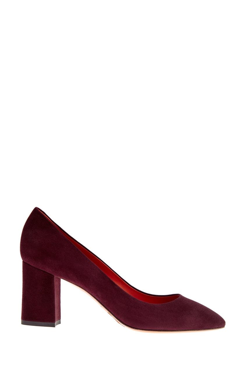 Замшевые туфли бордового цвета от Santoni