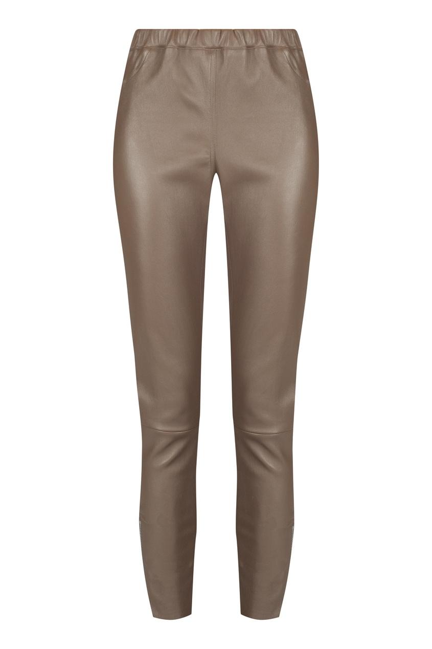 Коричневые кожаные брюки MAX & MOI