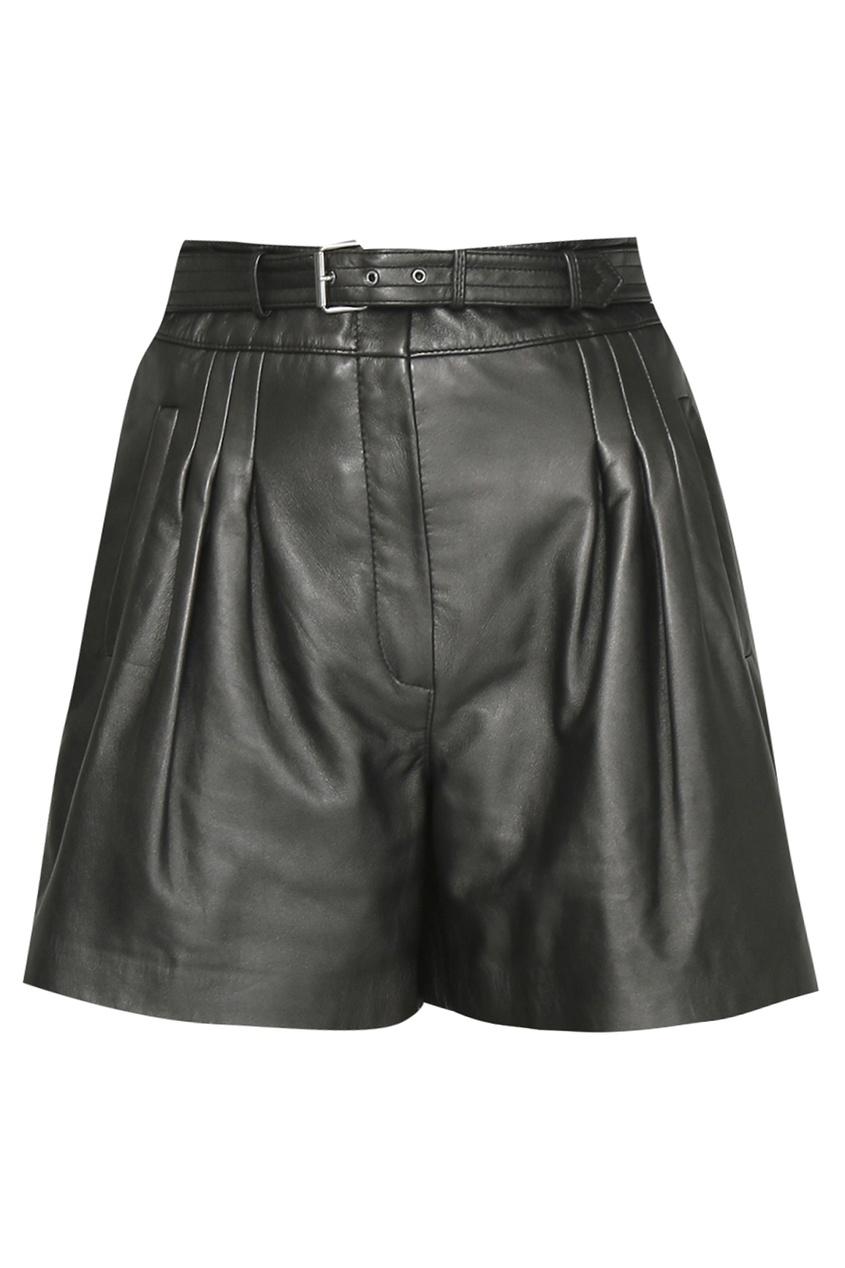 женские кожаные шорты alberta ferretti, серые