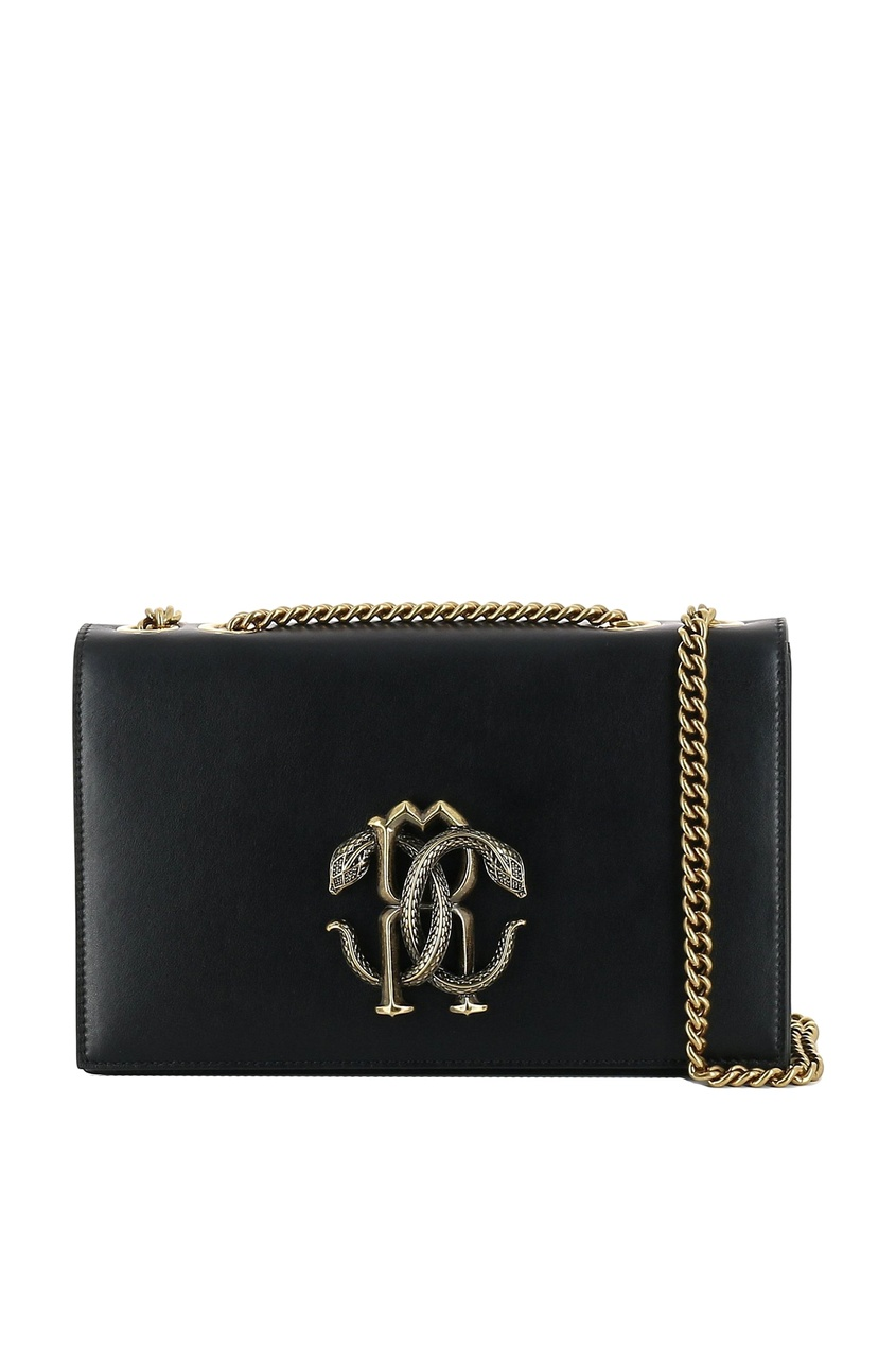 Купить со скидкой Черная сумка с пряжкой-монограммой