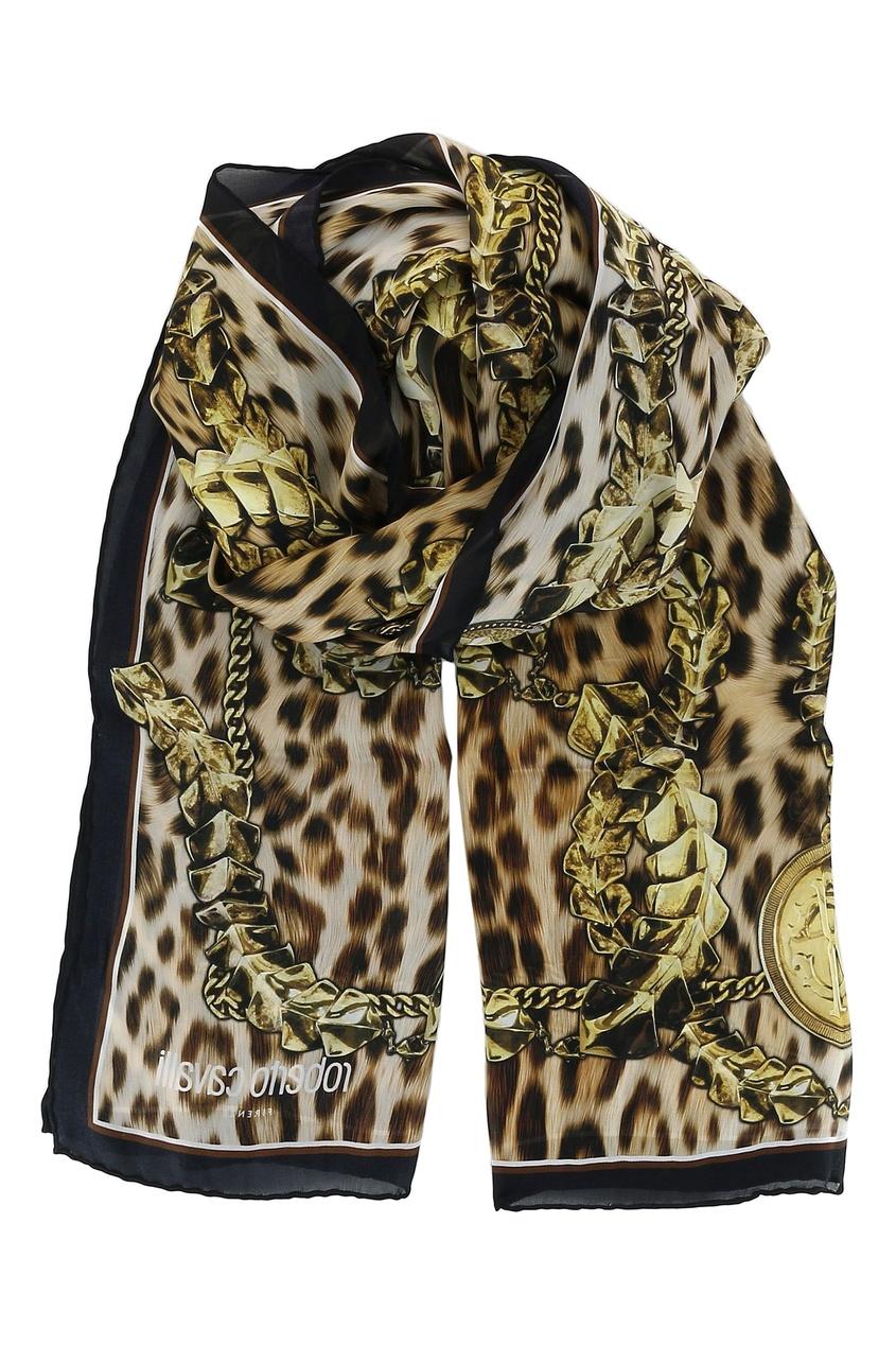 женский шелковые платок roberto cavalli, леопардовый