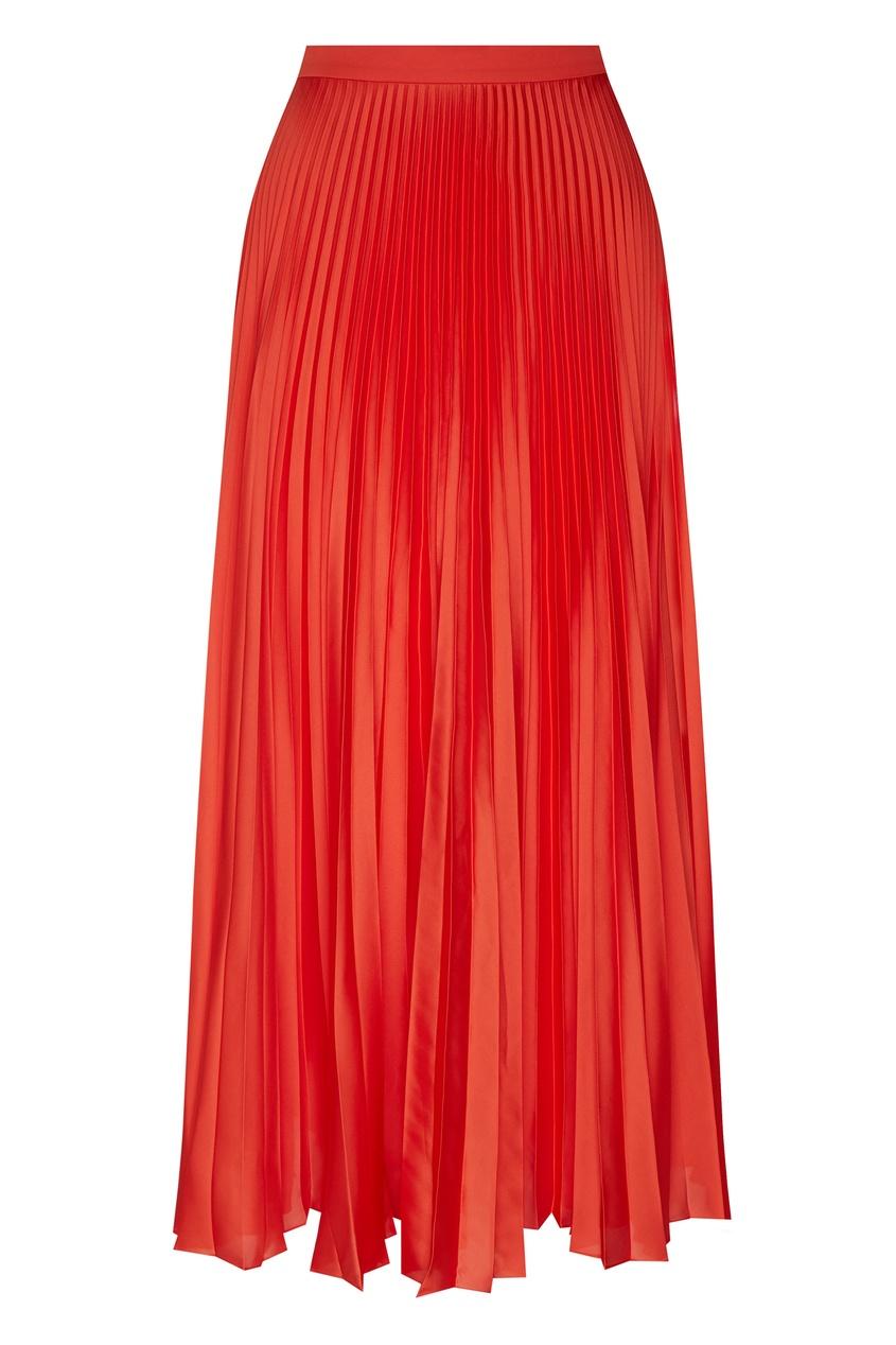 женская плиссированные юбка stella mccartney, красная