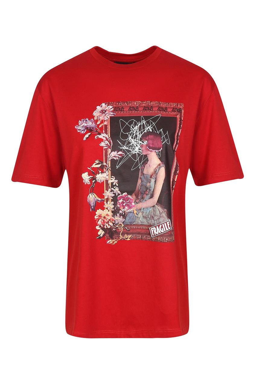 женская футболка etro, красная