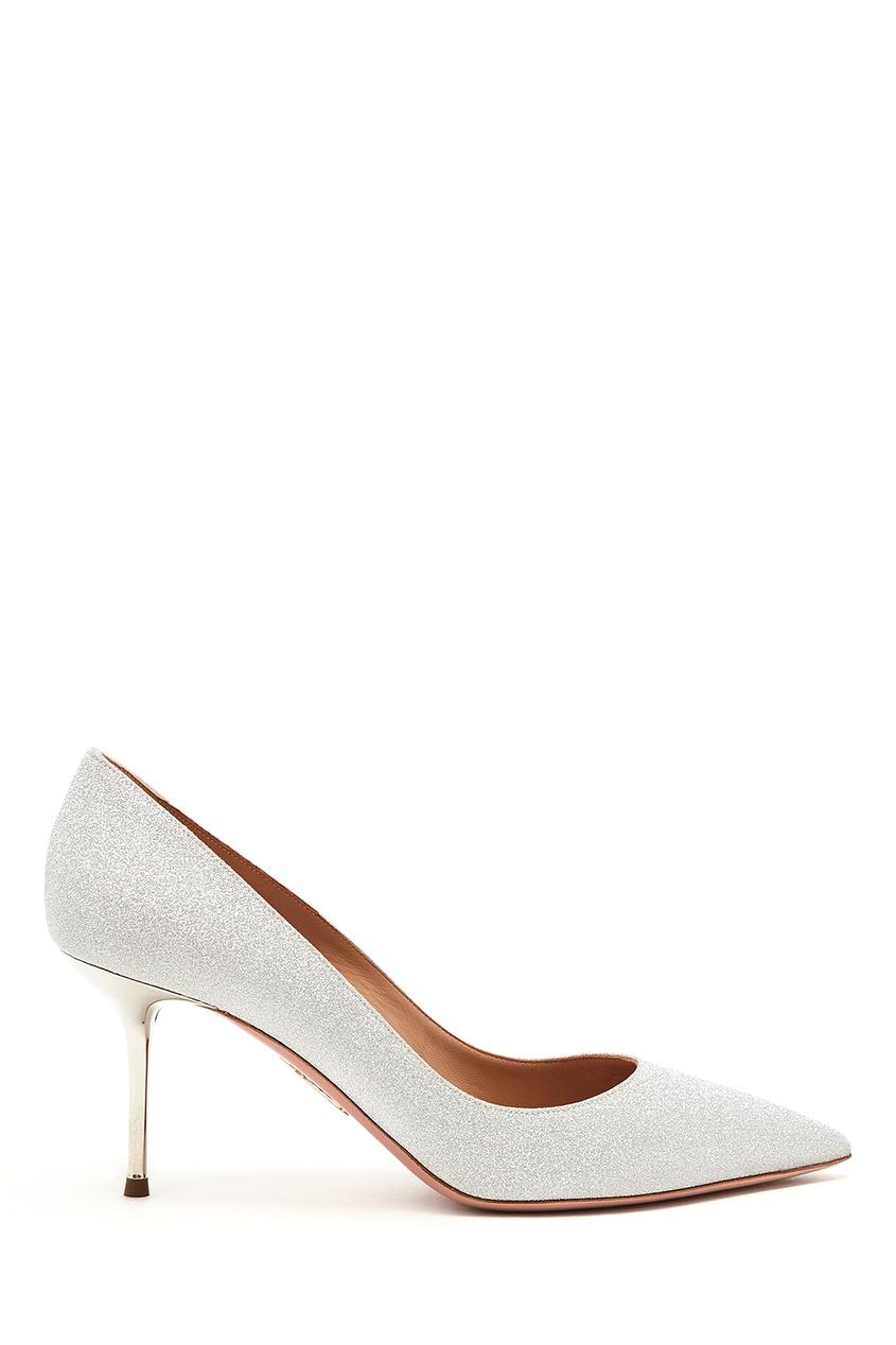 женские туфли aquazzura, серебряные