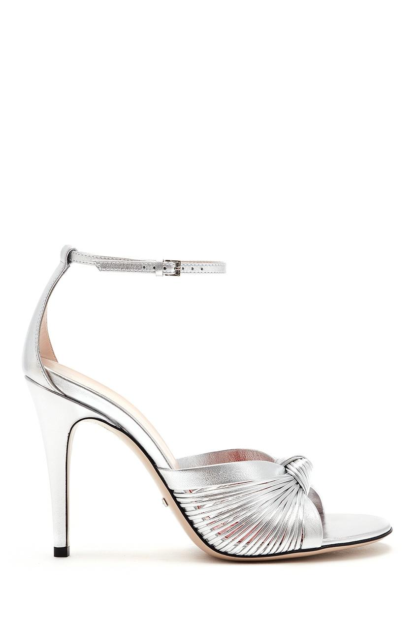 женские босоножки на каблуке gucci, серебряные