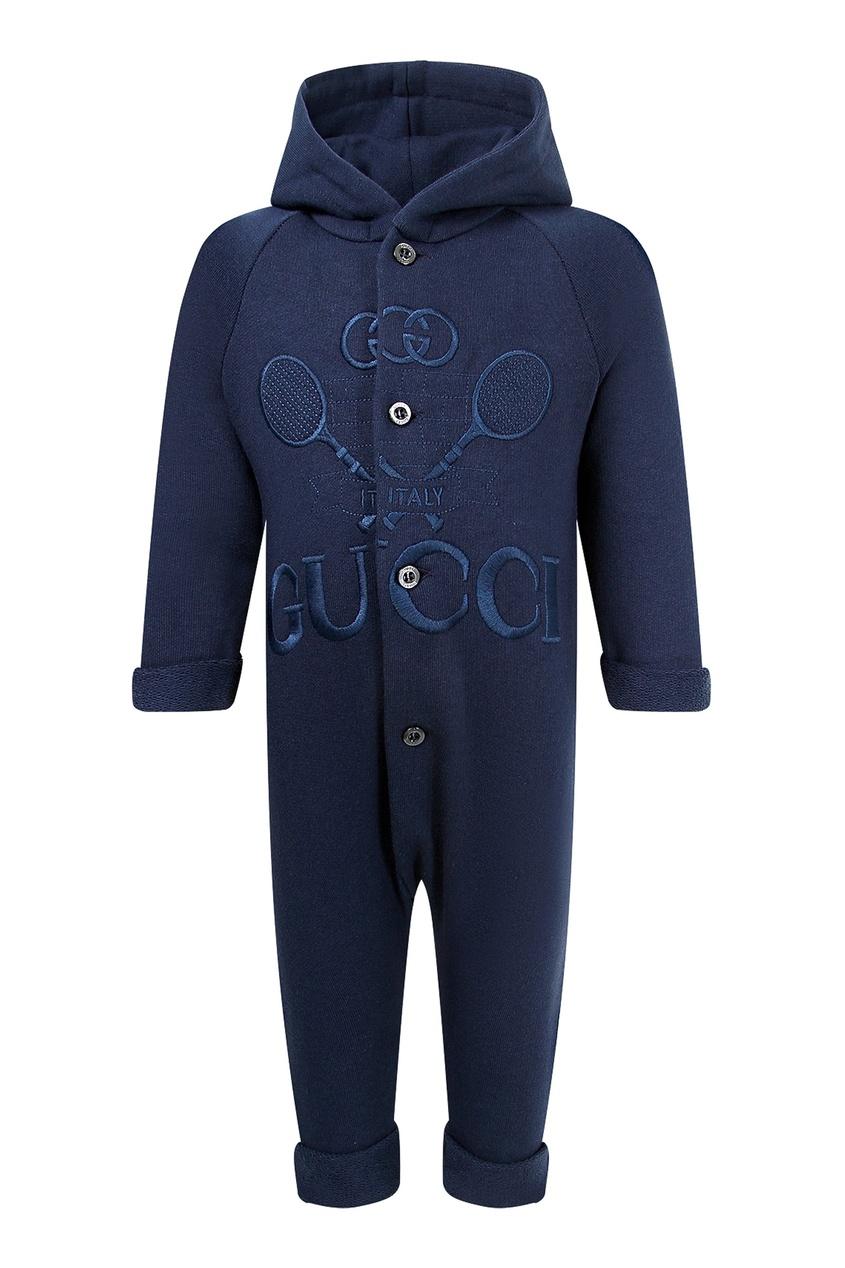Темно-синий комбинезон с вышивкой от Gucci