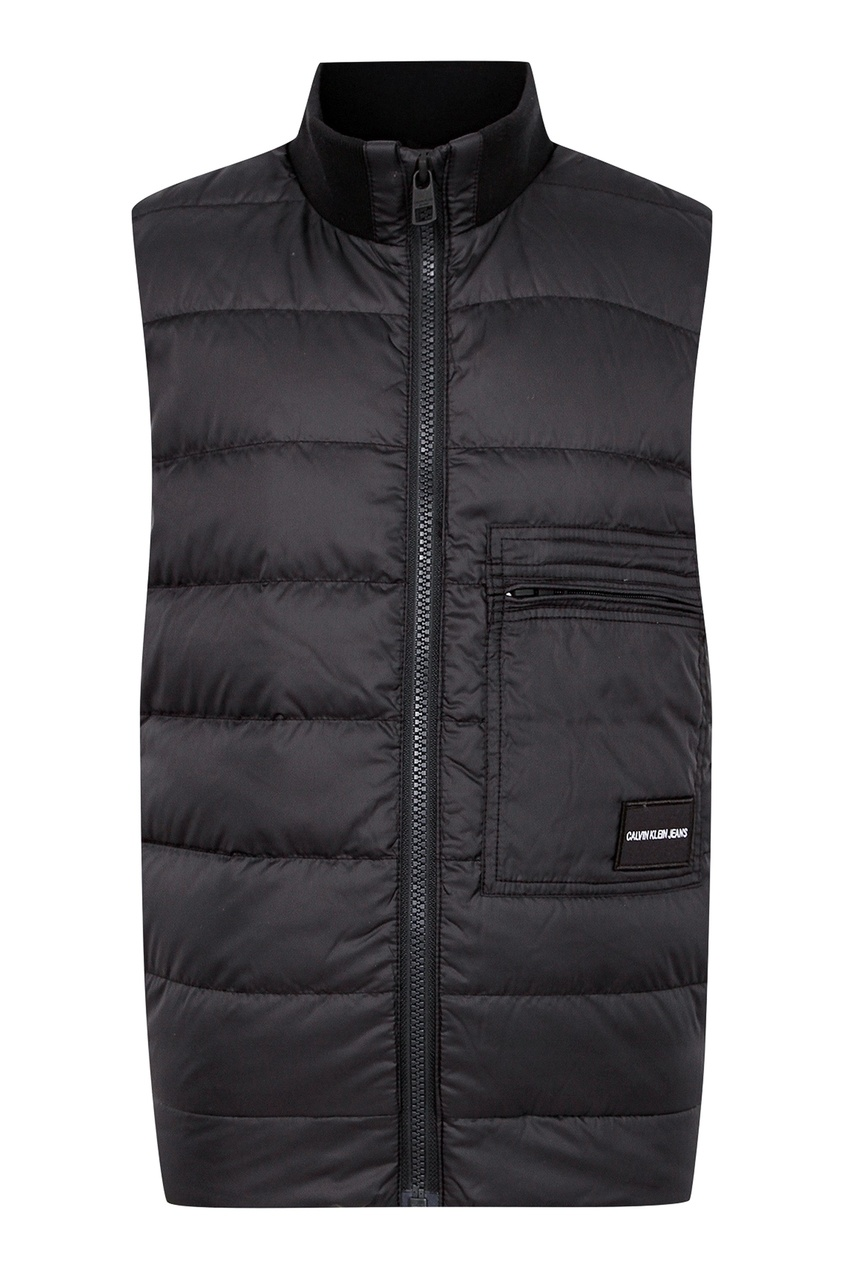 Черный жилет с карманом и надписью от Calvin Klein Kids