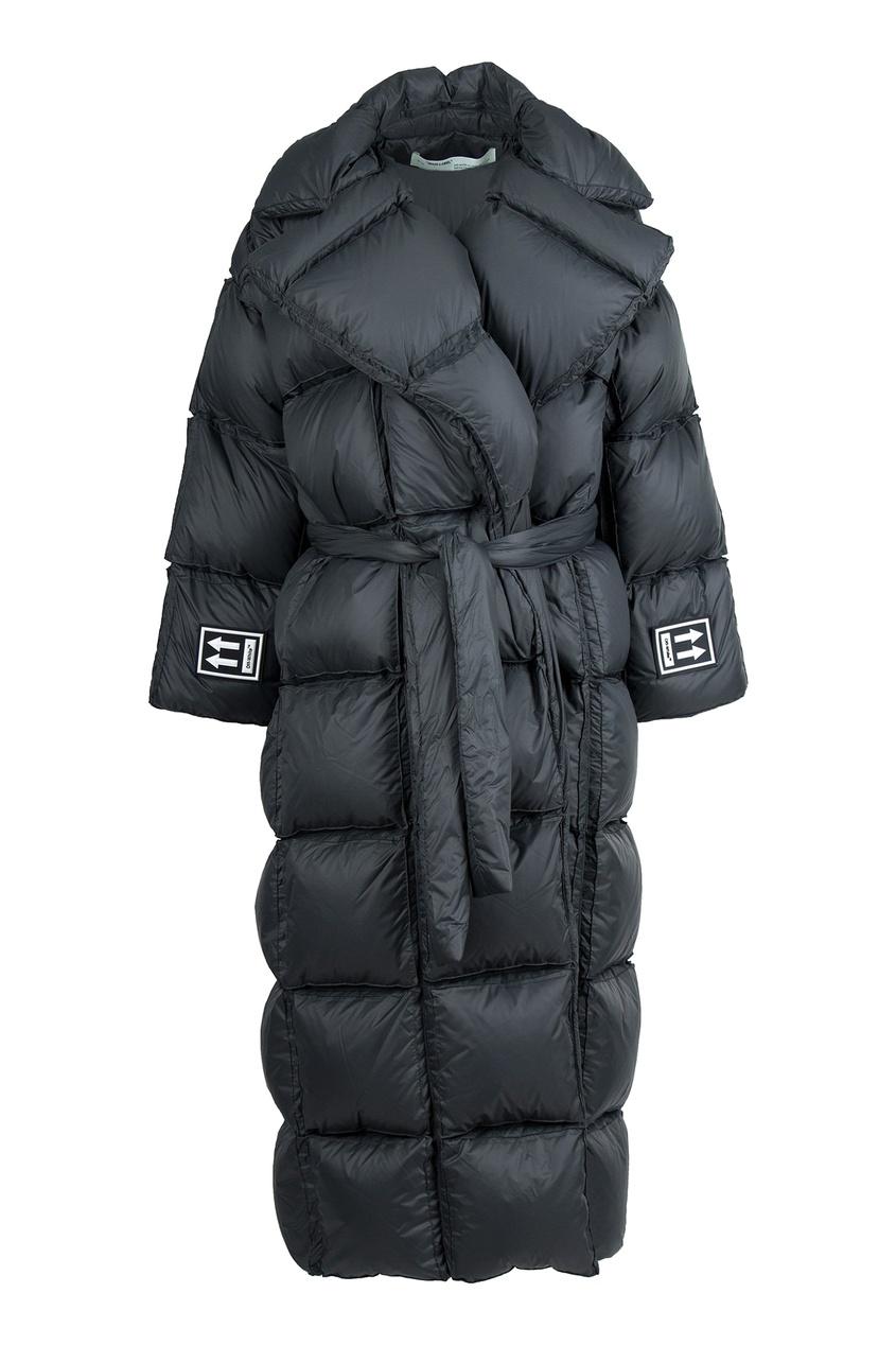 Купить со скидкой Черное стеганое пальто