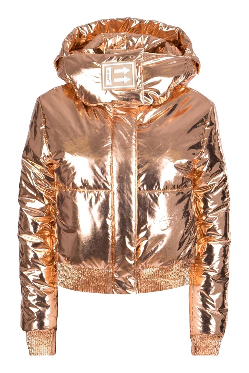 Золотистая стеганая куртка с логотипом