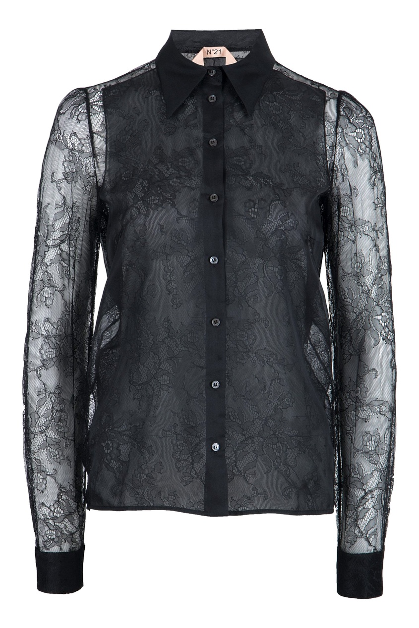 женская кружевные блузка no.21, черная