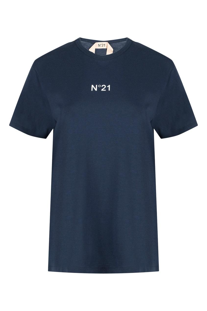 женская футболка no.21, синяя