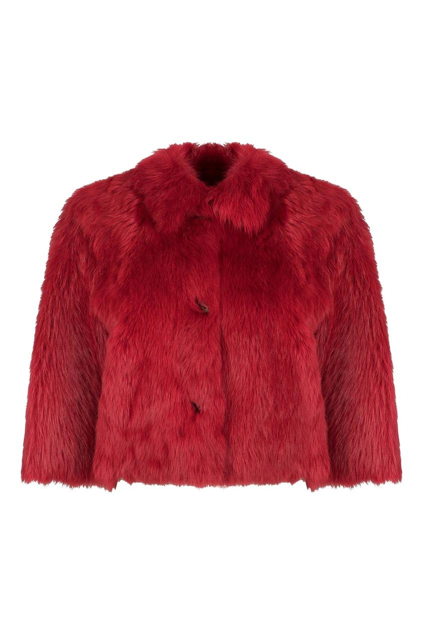 Короткое красное двустороннее пальто